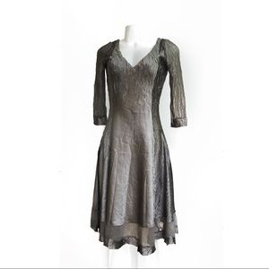 Komarov Silver Crinkle Dress S